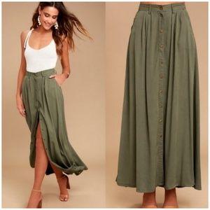 NWT Pistola Button Down Olive Green Maxi Skirt SM